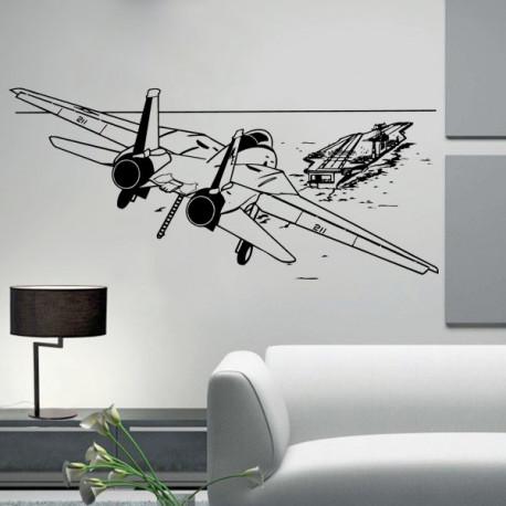 Vinilo decorativo Avión y Portaaviones