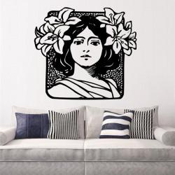 Vinilo decorativo Mujer con Flores